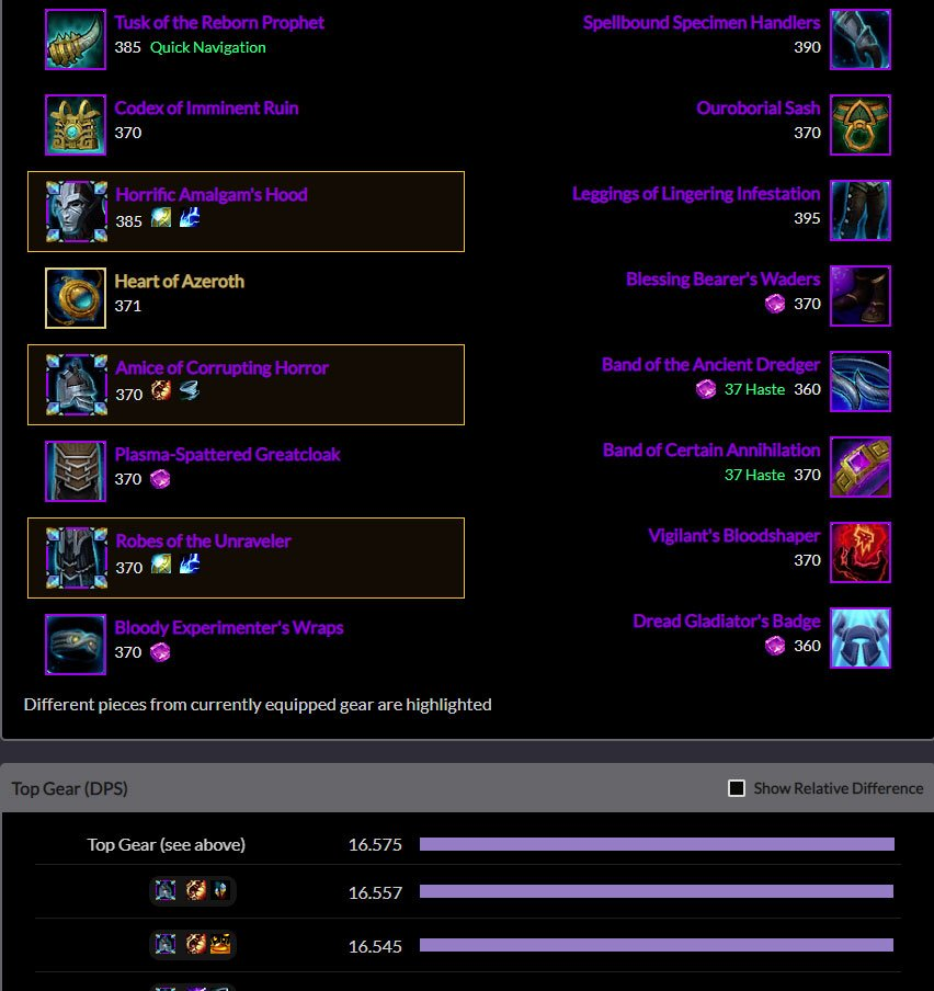 Raidbots Azerite Trait Sim Results